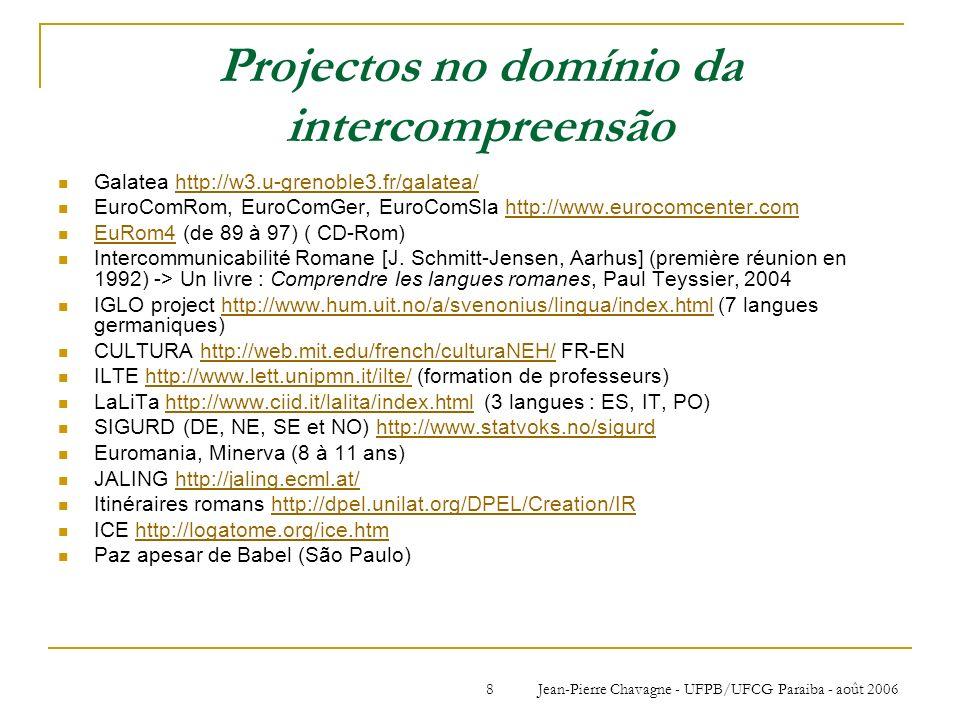 Jean-Pierre Chavagne - UFPB/UFCG Paraiba - août 20068 Projectos no domínio da intercompreensão Galatea http://w3.u-grenoble3.fr/galatea/http://w3.u-gr