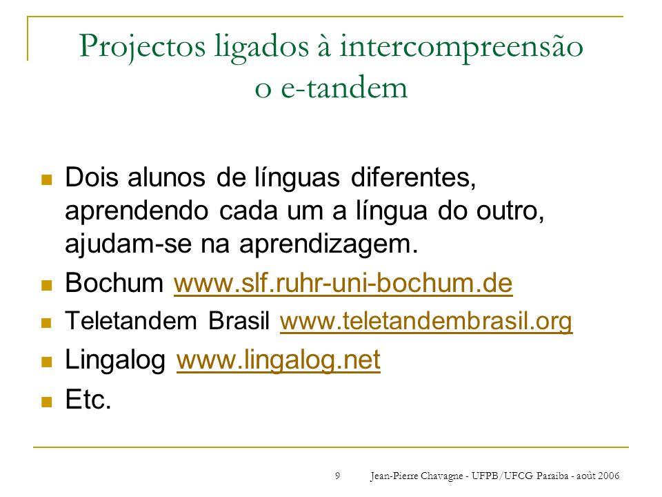 Jean-Pierre Chavagne - UFPB/UFCG Paraiba - août 20069 Projectos ligados à intercompreensão o e-tandem Dois alunos de línguas diferentes, aprendendo ca