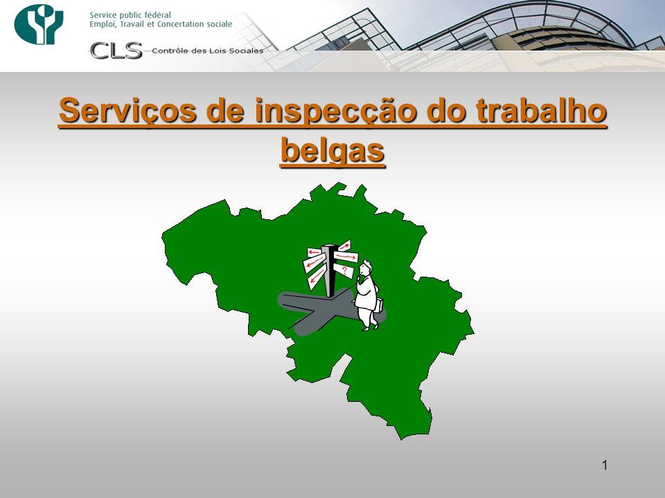 2 –Especializado e não generalista –Tem em conta a especificidade institucional belga (serviços federais e regionais) +/- 1000 inspectores sociais no total no país inteiro Um sistema de inspecção do trabalho