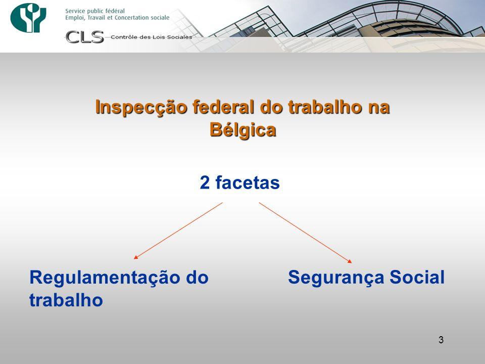 3 Inspecção federal do trabalho na Bélgica 2 facetas Regulamentação do trabalho Segurança Social