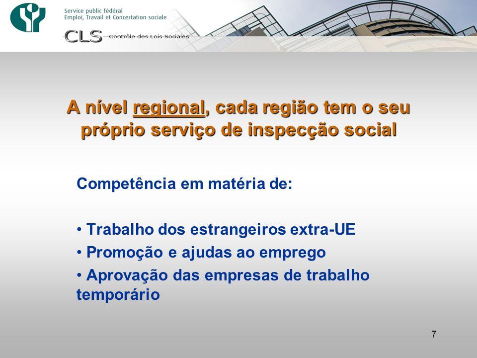 7 A nível regional, cada região tem o seu próprio serviço de inspecção social Competência em matéria de: Trabalho dos estrangeiros extra-UE Promoção e