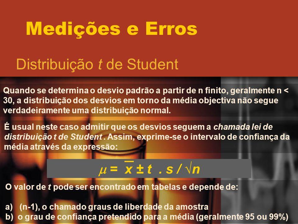 Medições e Erros Distribuição t de Student Quando se determina o desvio padrão a partir de n finito, geralmente n < 30, a distribuição dos desvios em
