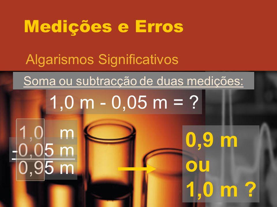 Medições e Erros Algarismos Significativos Soma ou subtracção de duas medições: 1,0 m - 0,05 m = ? 1,0 m -0,05 m 0,95 m 0,9 m ou 1,0 m ?