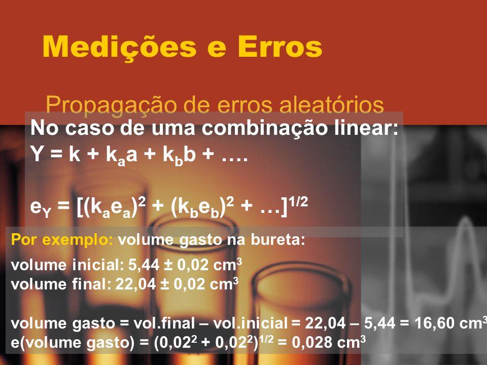 Medições e Erros Propagação de erros aleatórios No caso de uma combinação linear: Y = k + k a a + k b b + …. e Y = [(k a e a ) 2 + (k b e b ) 2 + …] 1