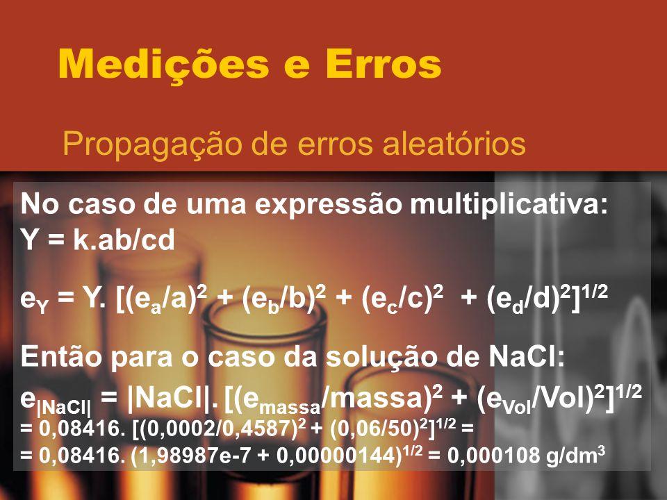 Medições e Erros Propagação de erros aleatórios No caso de uma expressão multiplicativa: Y = k.ab/cd e Y = Y. [(e a /a) 2 + (e b /b) 2 + (e c /c) 2 +