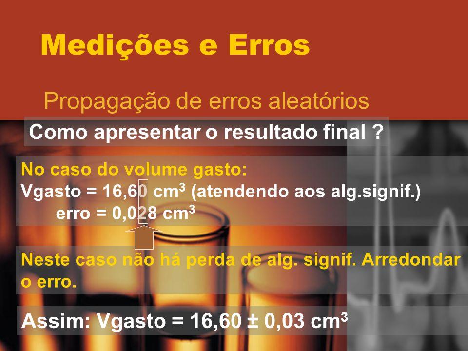 Medições e Erros Propagação de erros aleatórios Como apresentar o resultado final ? No caso do volume gasto: Vgasto = 16,60 cm 3 (atendendo aos alg.si