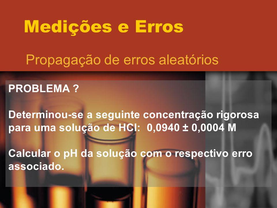 Medições e Erros Propagação de erros aleatórios PROBLEMA ? Determinou-se a seguinte concentração rigorosa para uma solução de HCl: 0,0940 ± 0,0004 M C