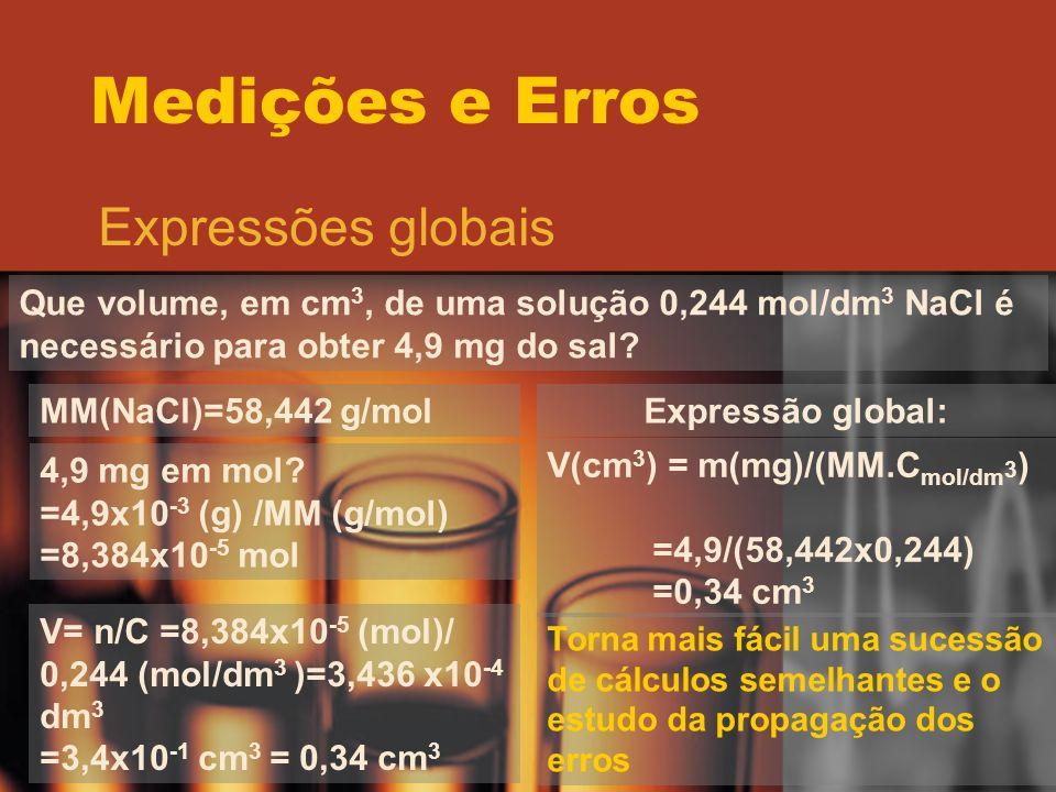 Medições e Erros Expressões globais Que volume, em cm 3, de uma solução 0,244 mol/dm 3 NaCl é necessário para obter 4,9 mg do sal? MM(NaCl)=58,442 g/m
