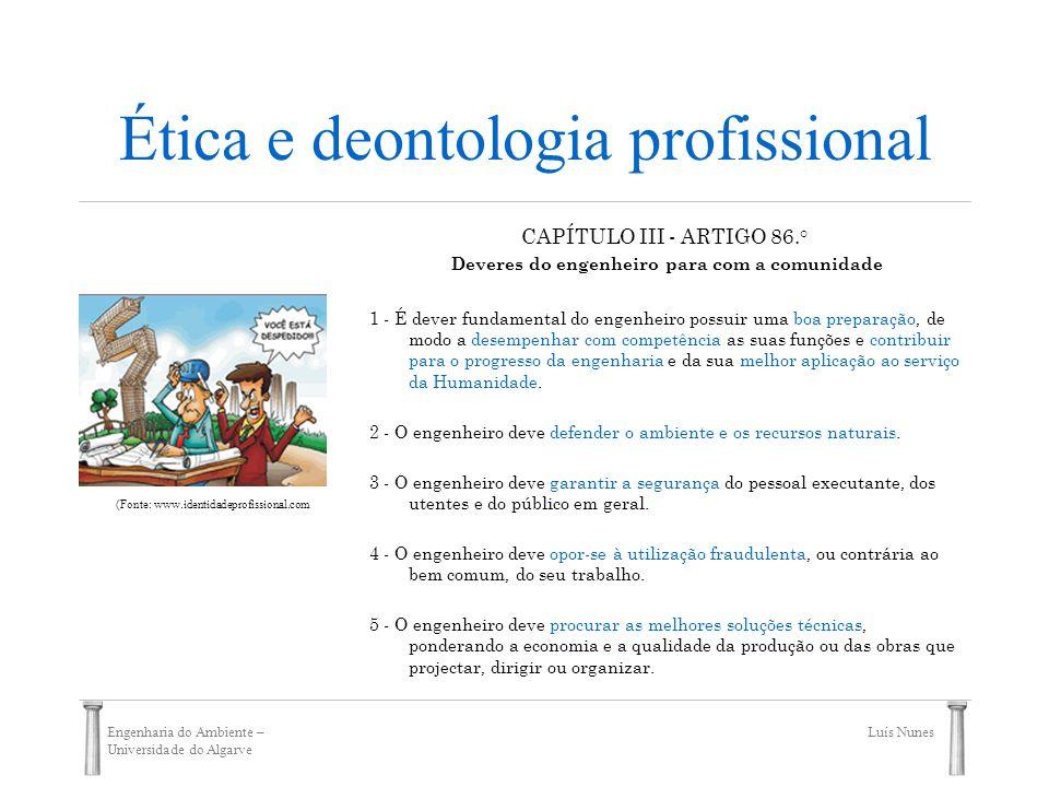 Engenharia do Ambiente – Universidade do Algarve Luís Nunes Ética e deontologia profissional CAPÍTULO III - ARTIGO 86.° Deveres do engenheiro para com