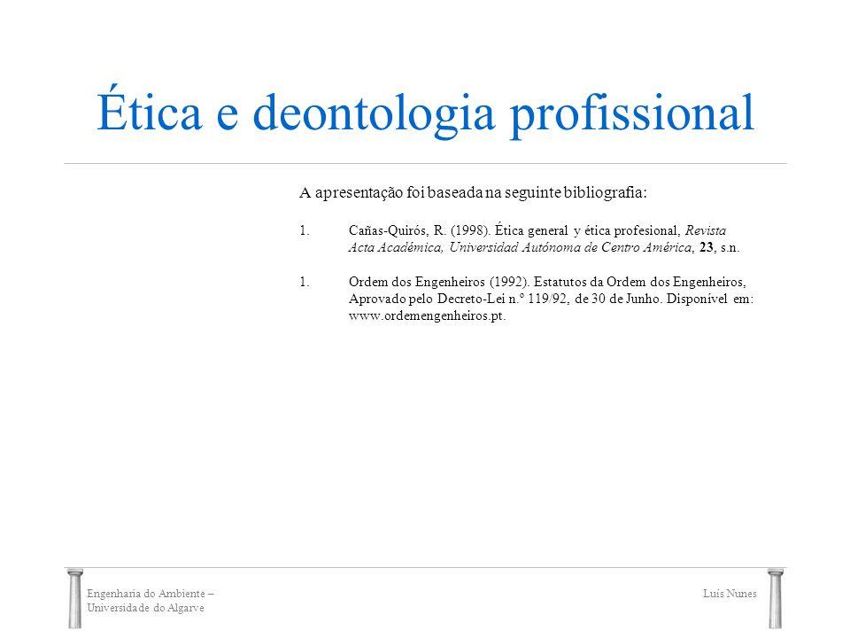 Engenharia do Ambiente – Universidade do Algarve Luís Nunes Ética e deontologia profissional A apresentação foi baseada na seguinte bibliografia: 1.Ca