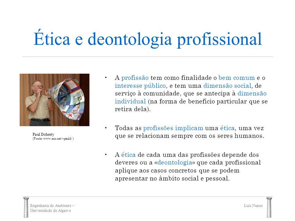 Engenharia do Ambiente – Universidade do Algarve Luís Nunes Ética e deontologia profissional A profissão tem como finalidade o bem comum e o interesse