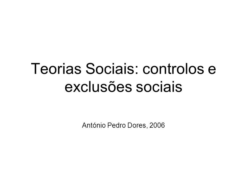 Teorias Sociais: controlos e exclusões sociais António Pedro Dores, 2006