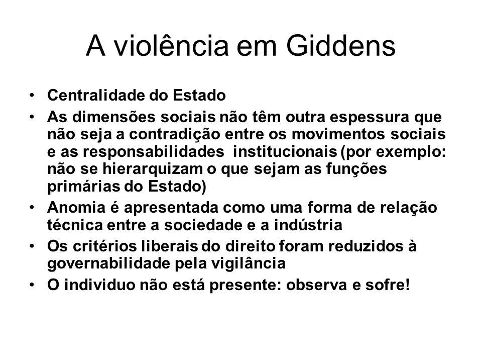 A violência em Giddens Centralidade do Estado As dimensões sociais não têm outra espessura que não seja a contradição entre os movimentos sociais e as