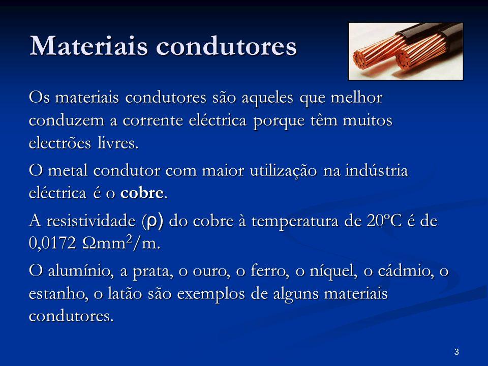 3 Materiais condutores Os materiais condutores são aqueles que melhor conduzem a corrente eléctrica porque têm muitos electrões livres. O metal condut
