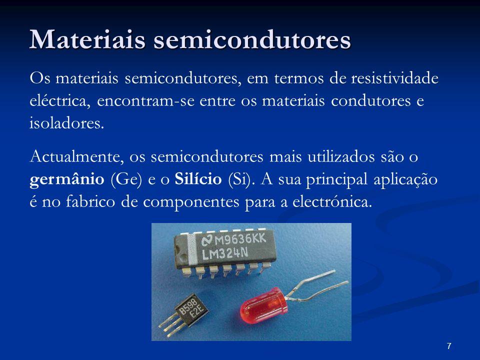 7 Materiais semicondutores Os materiais semicondutores, em termos de resistividade eléctrica, encontram-se entre os materiais condutores e isoladores.
