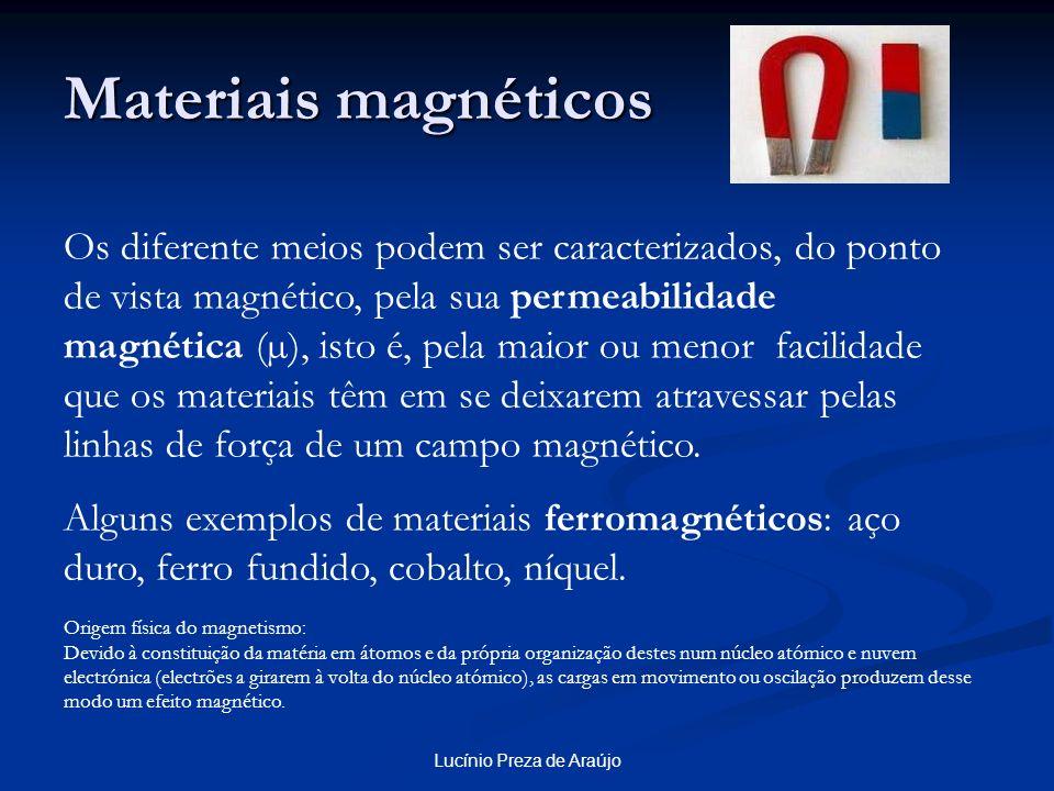 Lucínio Preza de Araújo Materiais magnéticos Os diferente meios podem ser caracterizados, do ponto de vista magnético, pela sua permeabilidade magnéti