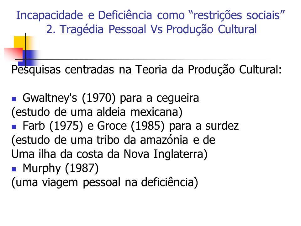 Incapacidade e Deficiência como restrições sociais 2. Tragédia Pessoal Vs Produção Cultural Pesquisas centradas na Teoria da Produção Cultural: Gwaltn