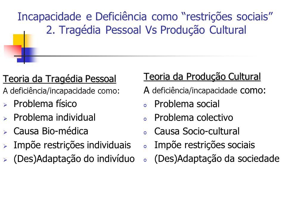 Incapacidade e Deficiência como restrições sociais 2. Tragédia Pessoal Vs Produção Cultural Teoria da Tragédia Pessoal A deficiência/incapacidade como