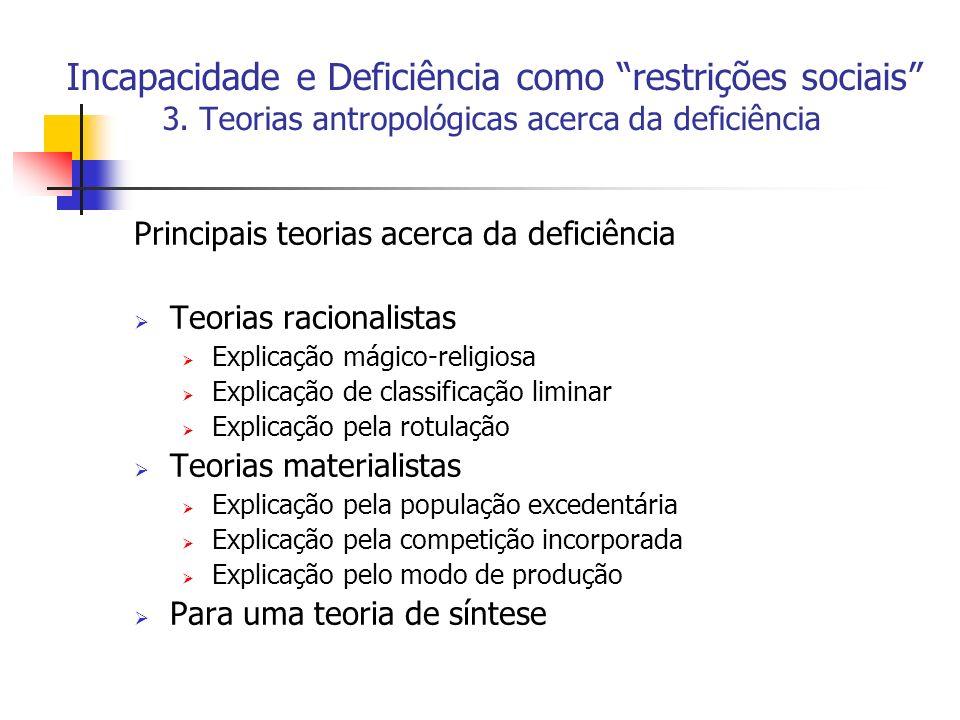 Incapacidade e Deficiência como restrições sociais 3. Teorias antropológicas acerca da deficiência Principais teorias acerca da deficiência Teorias ra