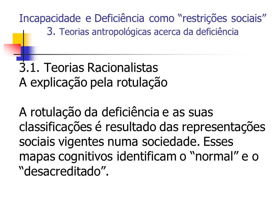 Incapacidade e Deficiência como restrições sociais 3. Teorias antropológicas acerca da deficiência 3.1. Teorias Racionalistas A explicação pela rotula