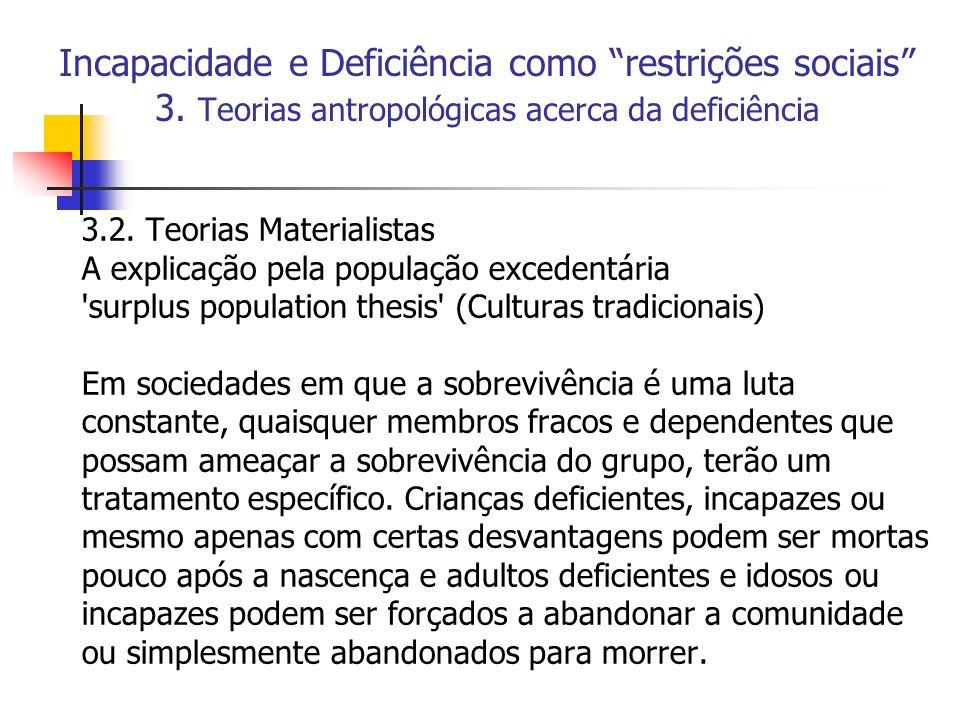 Incapacidade e Deficiência como restrições sociais 3. Teorias antropológicas acerca da deficiência 3.2. Teorias Materialistas A explicação pela popula