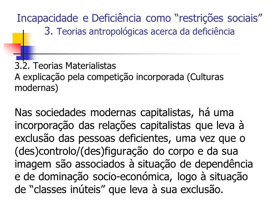 Incapacidade e Deficiência como restrições sociais 3. Teorias antropológicas acerca da deficiência 3.2. Teorias Materialistas A explicação pela compet