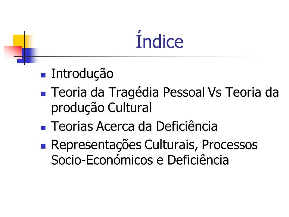 Índice Introdução Teoria da Tragédia Pessoal Vs Teoria da produção Cultural Teorias Acerca da Deficiência Representações Culturais, Processos Socio-Ec