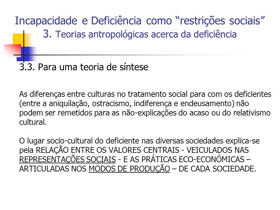 Incapacidade e Deficiência como restrições sociais 3. Teorias antropológicas acerca da deficiência 3.3. Para uma teoria de síntese As diferenças entre