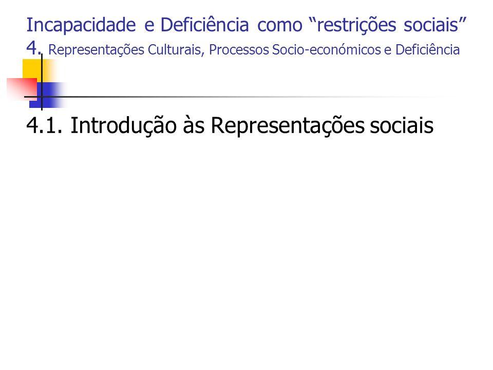 Incapacidade e Deficiência como restrições sociais 4. Representações Culturais, Processos Socio-económicos e Deficiência 4.1. Introdução às Representa