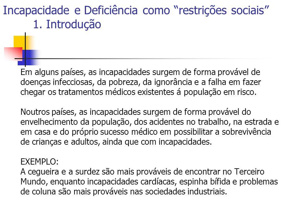 Incapacidade e Deficiência como restrições sociais 1. Introdução Em alguns países, as incapacidades surgem de forma provável de doenças infecciosas, d