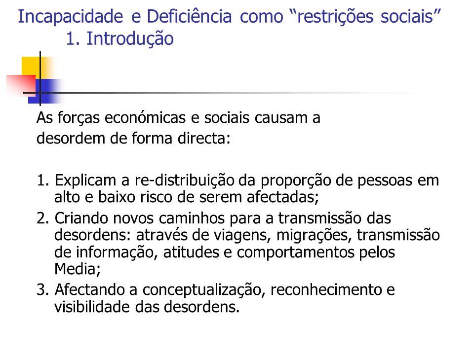 Incapacidade e Deficiência como restrições sociais 1. Introdução As forças económicas e sociais causam a desordem de forma directa: 1. Explicam a re-d