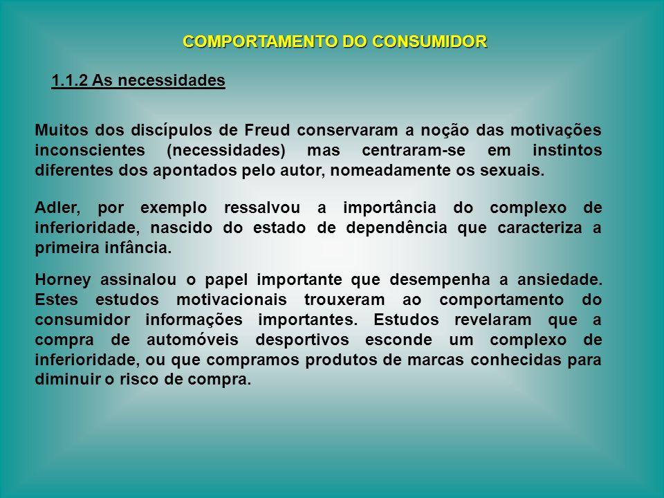 Muitos dos discípulos de Freud conservaram a noção das motivações inconscientes (necessidades) mas centraram-se em instintos diferentes dos apontados