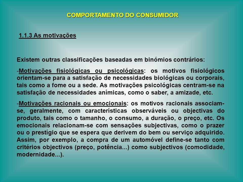 Existem outras classificações baseadas em binómios contrários: -Motivações fisiológicas ou psicológicas: os motivos fisiológicos orientam-se para a sa