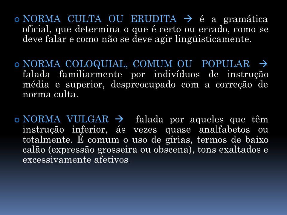 NORMA CULTA OU ERUDITA é a gramática oficial, que determina o que é certo ou errado, como se deve falar e como não se deve agir lingüisticamente. NORM