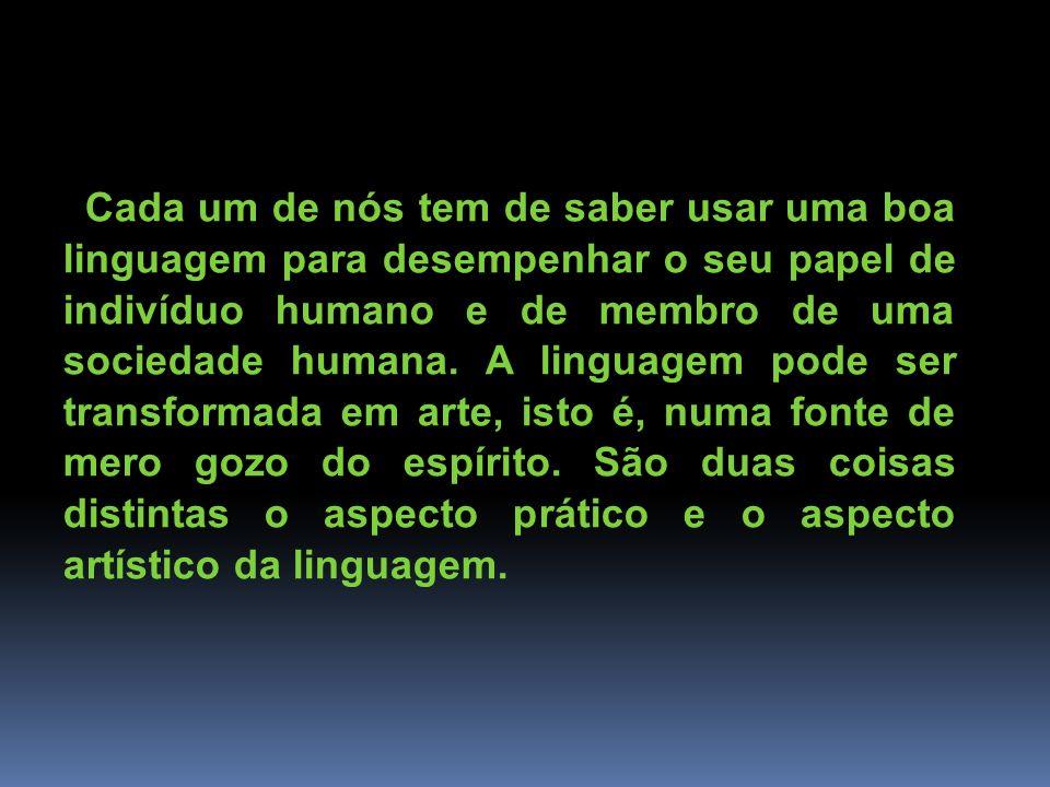 Cada um de nós tem de saber usar uma boa linguagem para desempenhar o seu papel de indivíduo humano e de membro de uma sociedade humana. A linguagem p