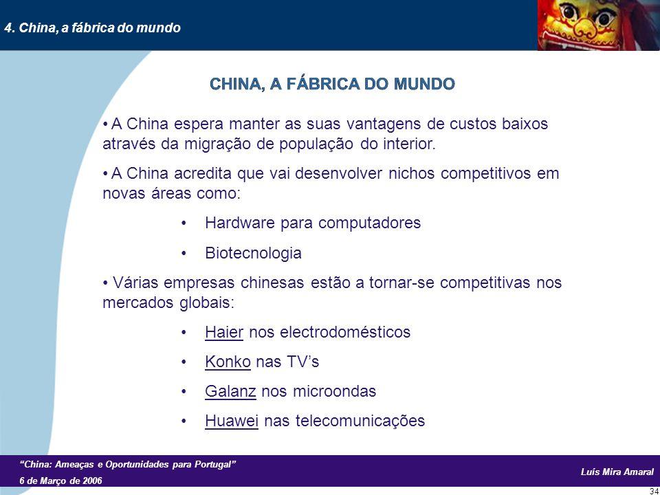Luís Mira Amaral China: Ameaças e Oportunidades para Portugal 6 de Março de 2006 34 A China espera manter as suas vantagens de custos baixos através da migração de população do interior.
