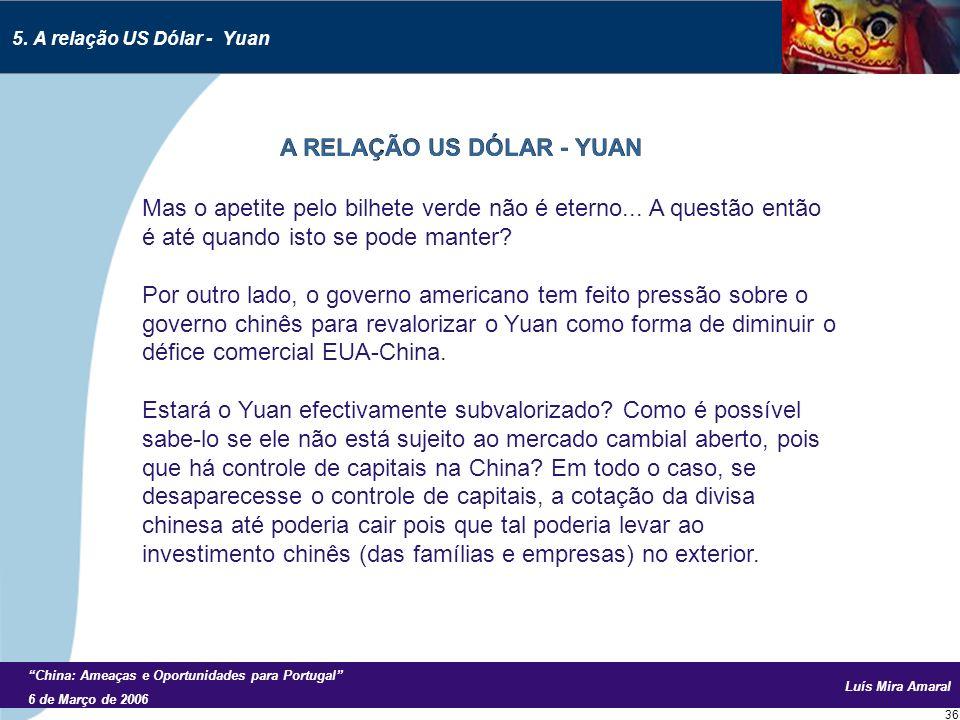 Luís Mira Amaral China: Ameaças e Oportunidades para Portugal 6 de Março de 2006 36 Mas o apetite pelo bilhete verde não é eterno...