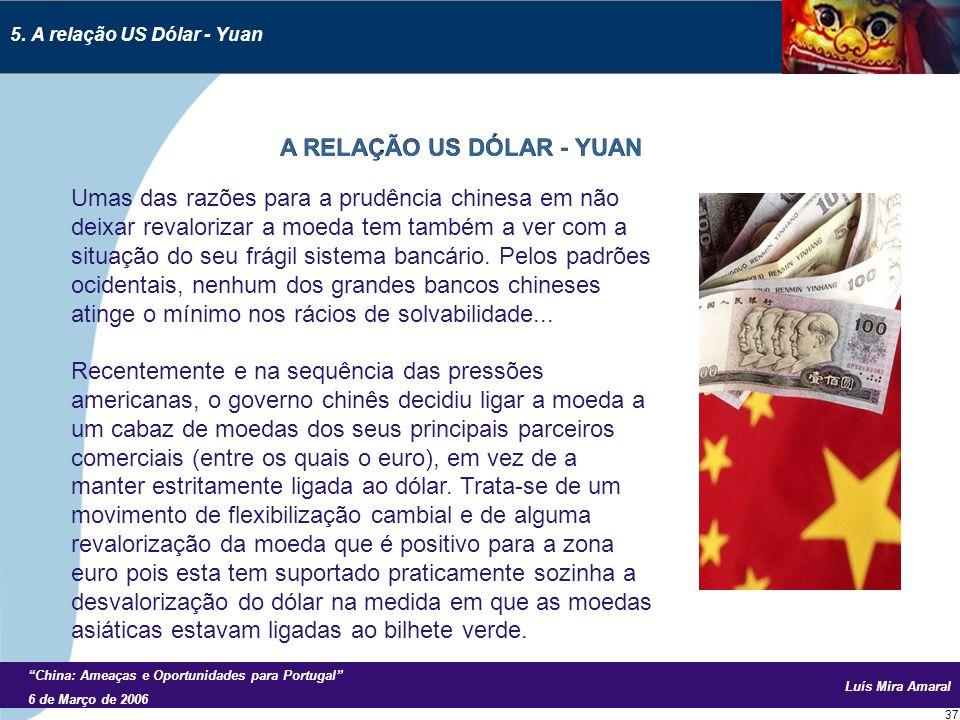 Luís Mira Amaral China: Ameaças e Oportunidades para Portugal 6 de Março de 2006 37 Umas das razões para a prudência chinesa em não deixar revalorizar a moeda tem também a ver com a situação do seu frágil sistema bancário.