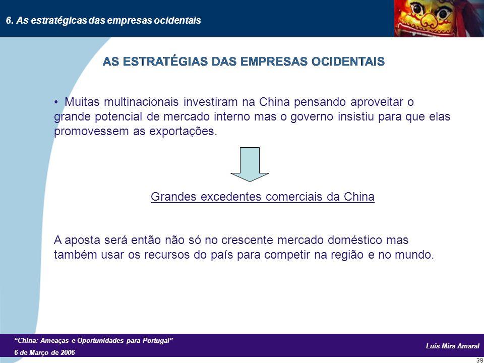 Luís Mira Amaral China: Ameaças e Oportunidades para Portugal 6 de Março de 2006 39 Muitas multinacionais investiram na China pensando aproveitar o grande potencial de mercado interno mas o governo insistiu para que elas promovessem as exportações.