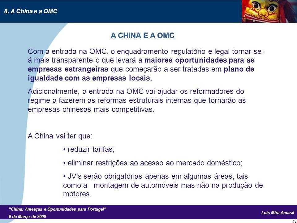 Luís Mira Amaral China: Ameaças e Oportunidades para Portugal 6 de Março de 2006 43 Com a entrada na OMC, o enquadramento regulatório e legal tornar-se- á mais transparente o que levará a maiores oportunidades para as empresas estrangeiras que começarão a ser tratadas em plano de igualdade com as empresas locais.