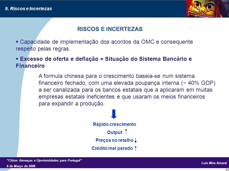 Luís Mira Amaral China: Ameaças e Oportunidades para Portugal 6 de Março de 2006 45 Capacidade de implementação dos acordos da OMC e consequente respeito pelas regras.
