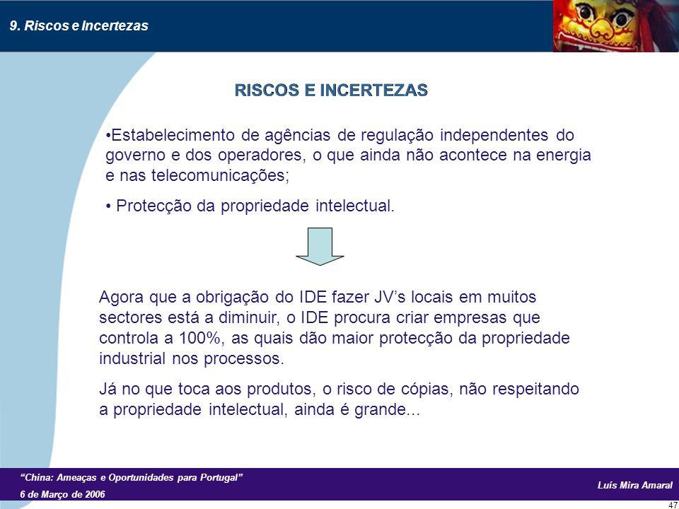 Luís Mira Amaral China: Ameaças e Oportunidades para Portugal 6 de Março de 2006 47 9.