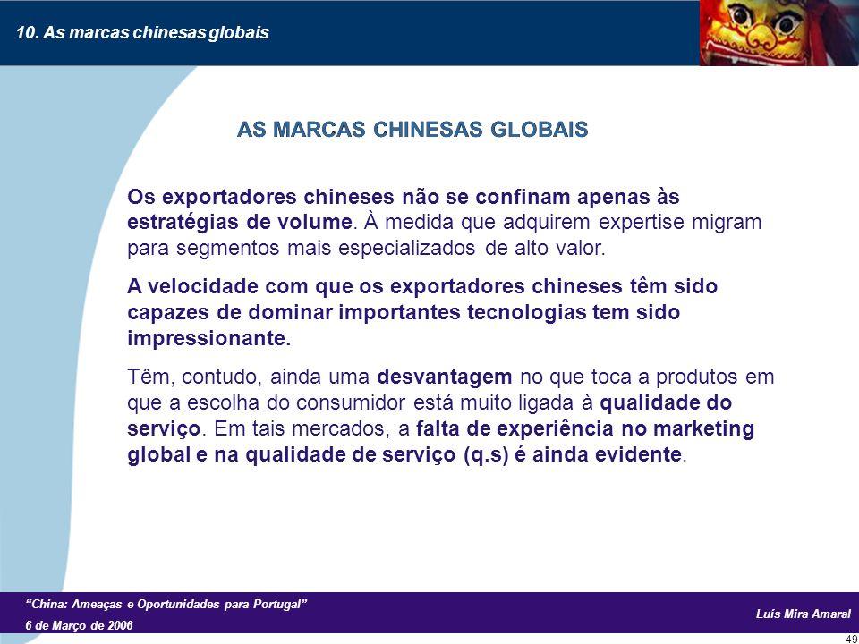 Luís Mira Amaral China: Ameaças e Oportunidades para Portugal 6 de Março de 2006 49 Os exportadores chineses não se confinam apenas às estratégias de volume.