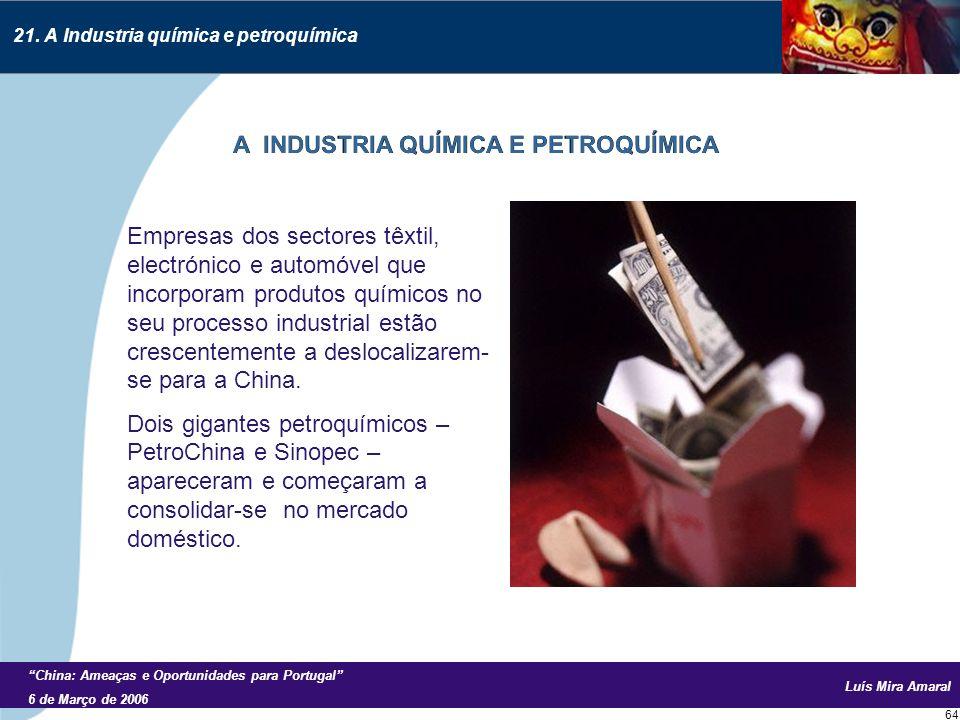 Luís Mira Amaral China: Ameaças e Oportunidades para Portugal 6 de Março de 2006 64 Empresas dos sectores têxtil, electrónico e automóvel que incorporam produtos químicos no seu processo industrial estão crescentemente a deslocalizarem- se para a China.