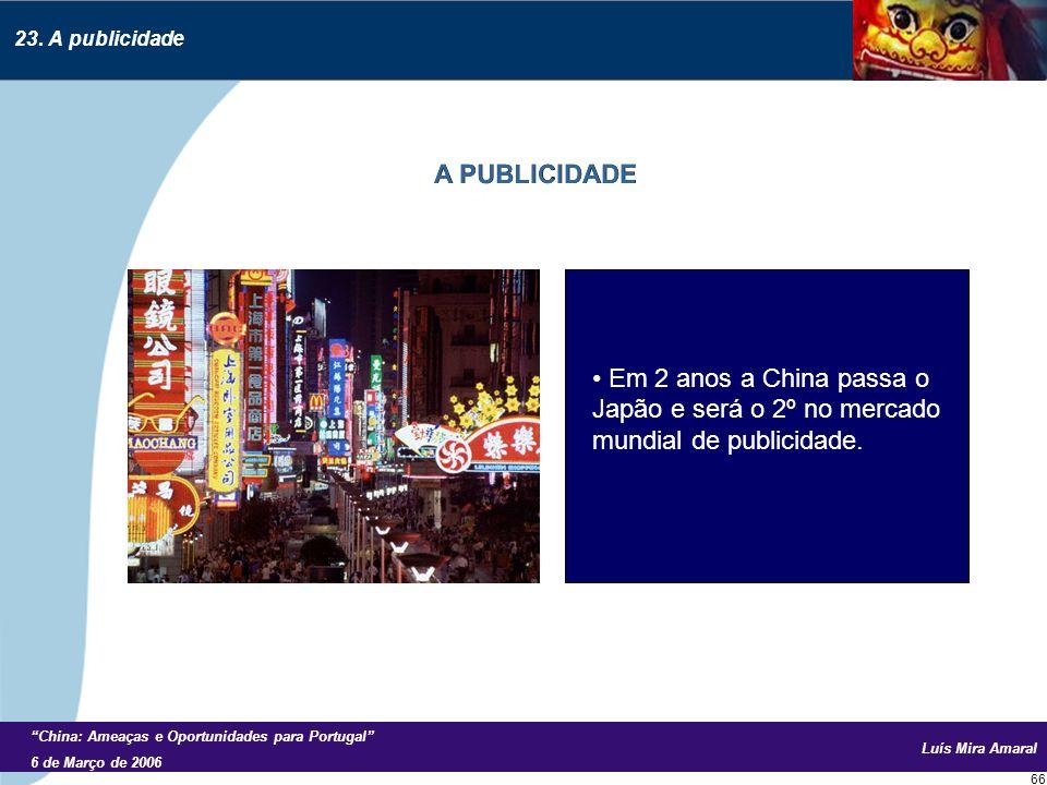 Luís Mira Amaral China: Ameaças e Oportunidades para Portugal 6 de Março de 2006 66 Em 2 anos a China passa o Japão e será o 2º no mercado mundial de publicidade.