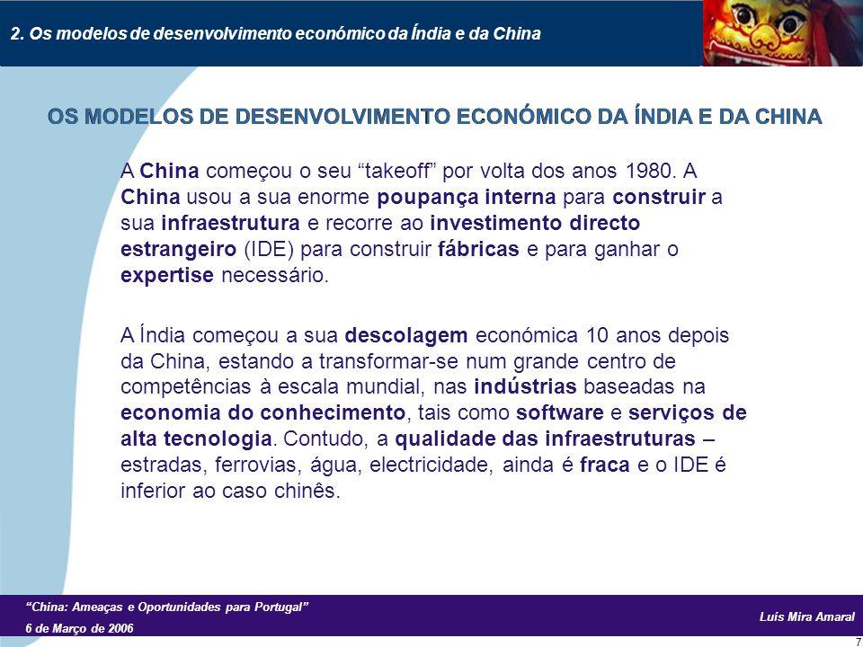 Luís Mira Amaral China: Ameaças e Oportunidades para Portugal 6 de Março de 2006 7 A China começou o seu takeoff por volta dos anos 1980.