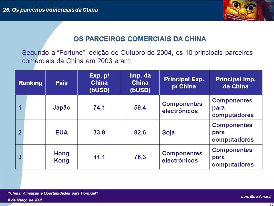Luís Mira Amaral China: Ameaças e Oportunidades para Portugal 6 de Março de 2006 70 Segundo a Fortune, edição de Outubro de 2004, os 10 principais parceiros comerciais da China em 2003 eram: 26.