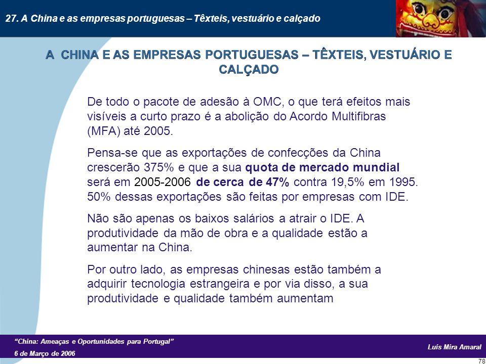 Luís Mira Amaral China: Ameaças e Oportunidades para Portugal 6 de Março de 2006 78 De todo o pacote de adesão à OMC, o que terá efeitos mais visíveis a curto prazo é a abolição do Acordo Multifibras (MFA) até 2005.
