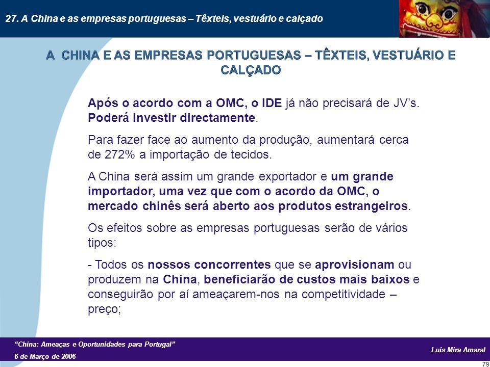 Luís Mira Amaral China: Ameaças e Oportunidades para Portugal 6 de Março de 2006 79 Após o acordo com a OMC, o IDE já não precisará de JVs.