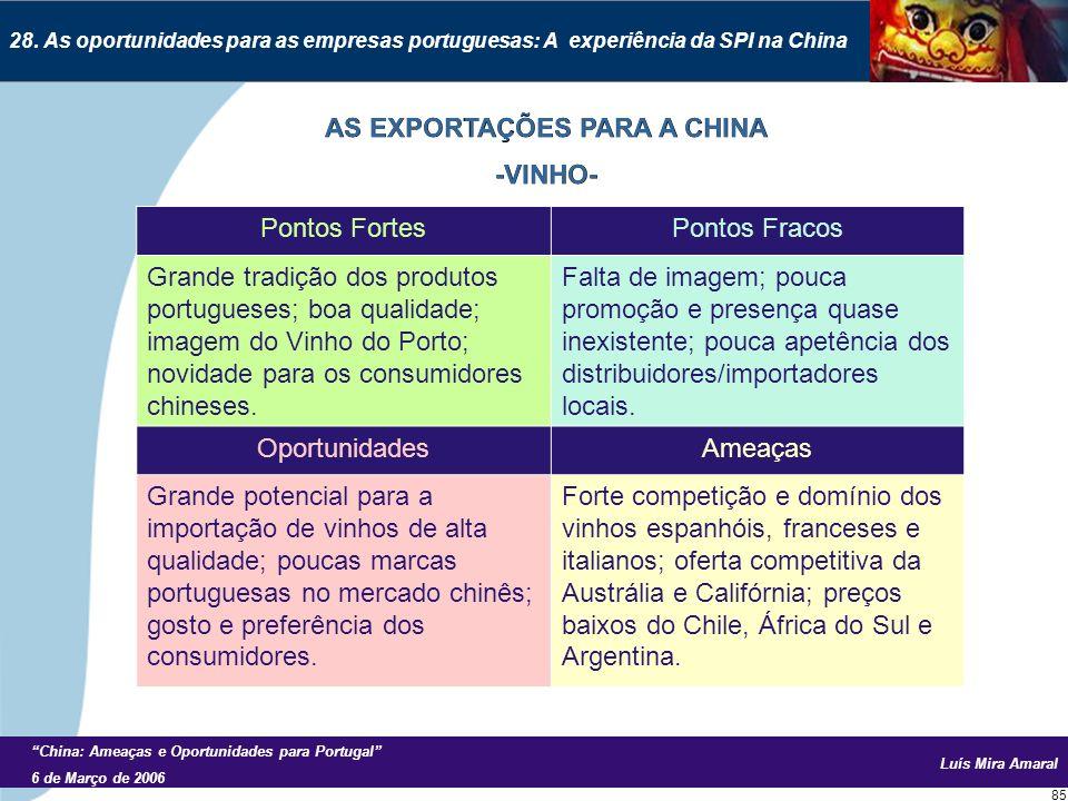 Luís Mira Amaral China: Ameaças e Oportunidades para Portugal 6 de Março de 2006 85 28.